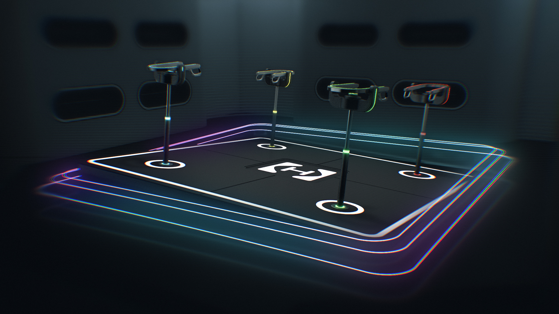 Hyperdeck platform titled with neon shapes tracing the edge