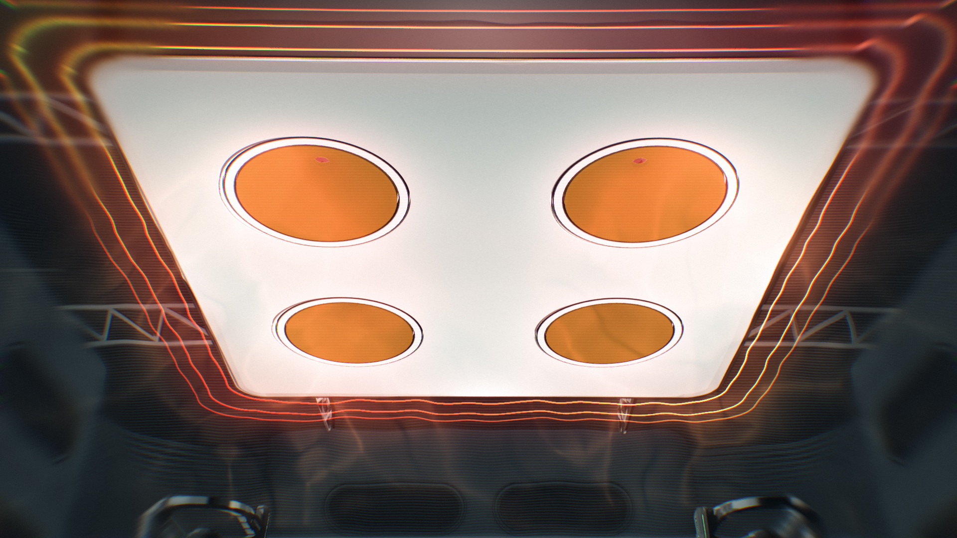 Hyperdeck roof with 4 heat vents, red neon shapes tracing the edges