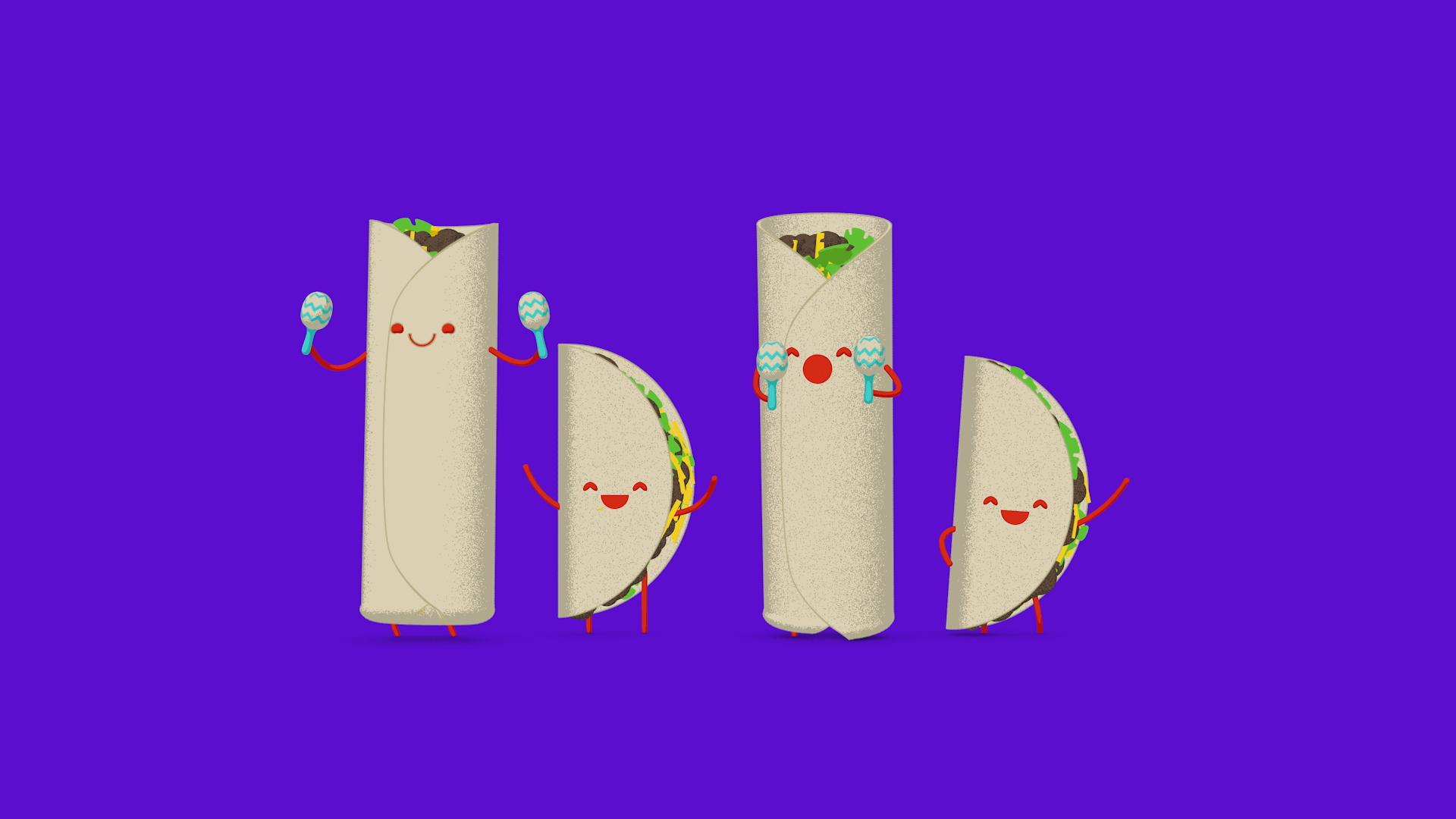 Bom Bom logo made of burritos and tacos with cute faces