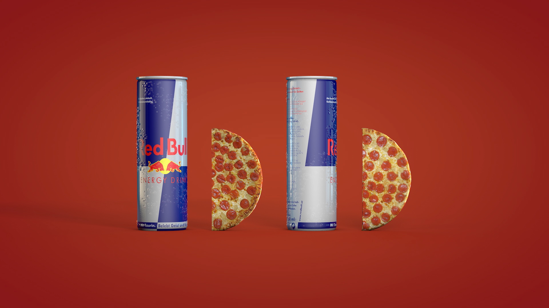 Bom Bom logo made of Red Bull and pepperoni pizza