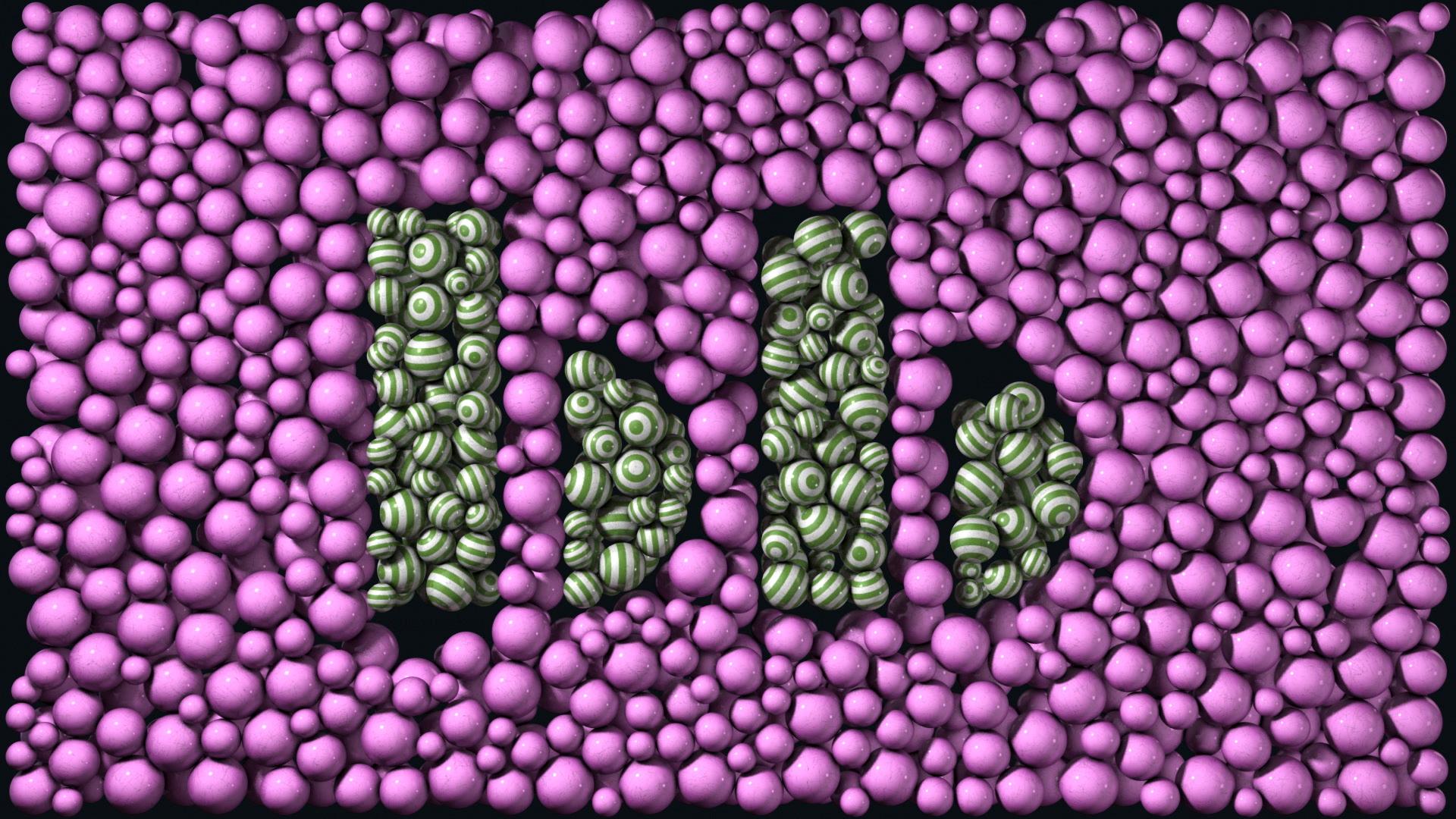 Bom Bom logo made of various balls