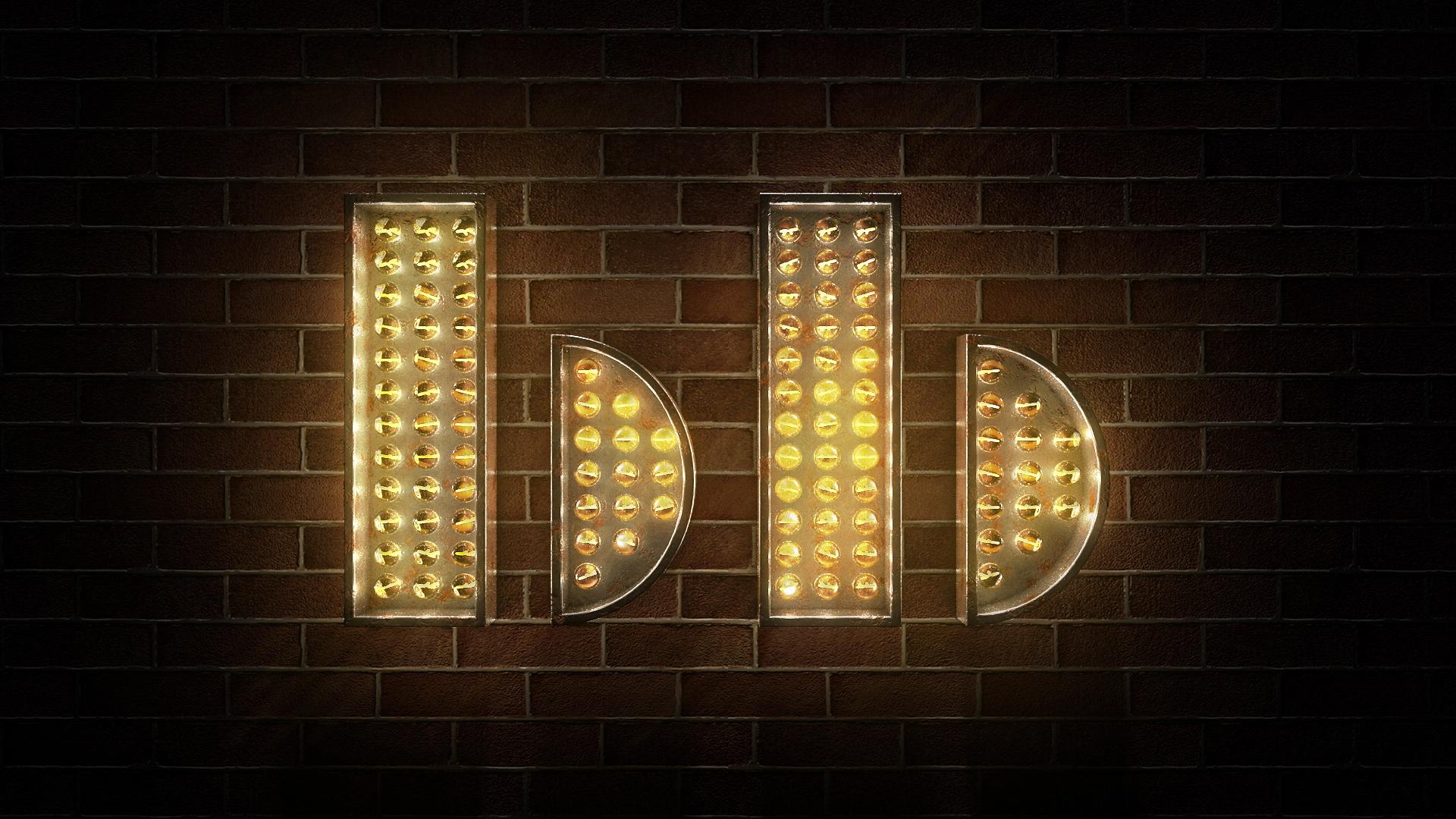 Bom Bom logo marquee made of halogen lightbulbs