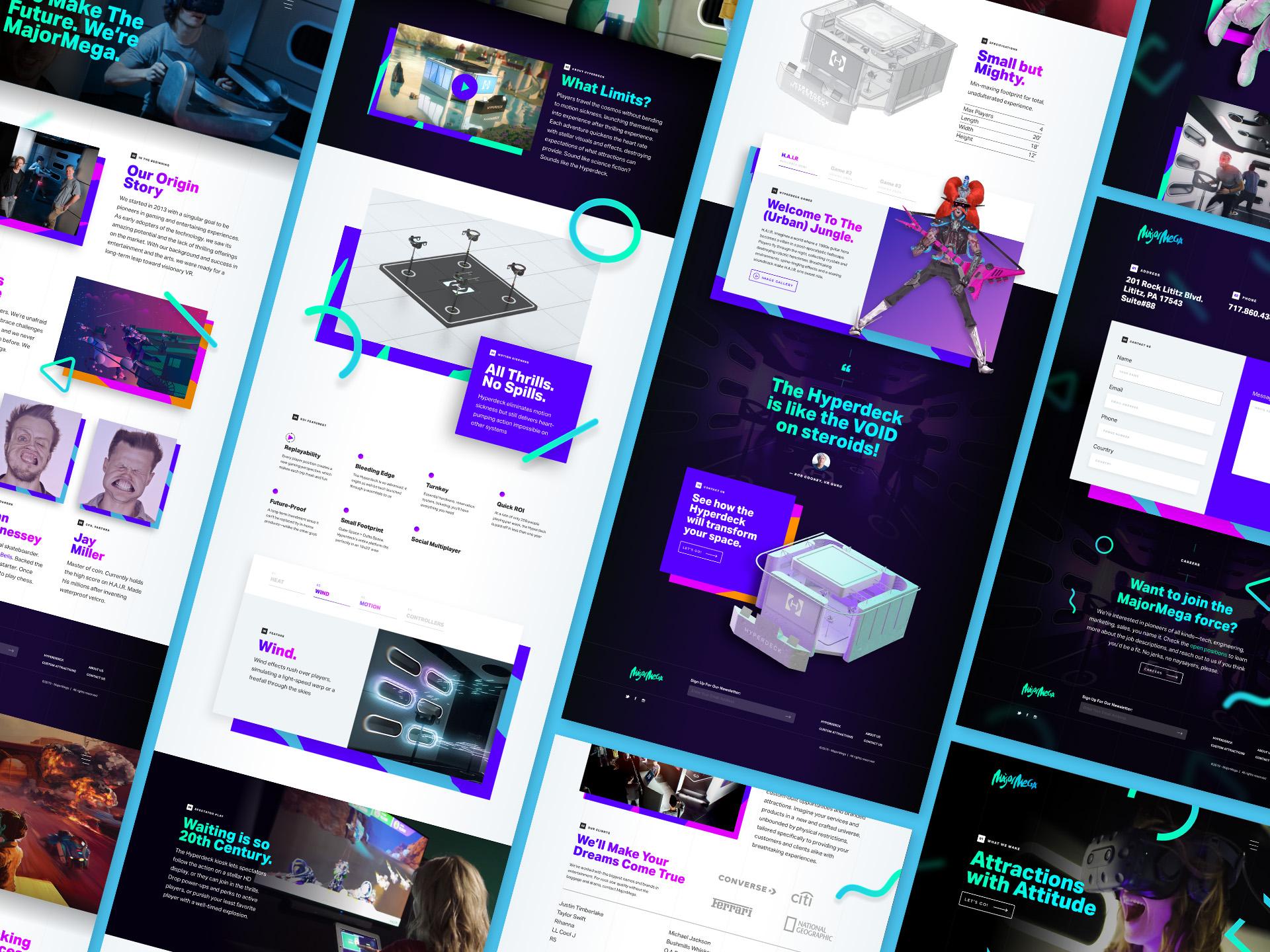 various screenshots of the MajorMega website