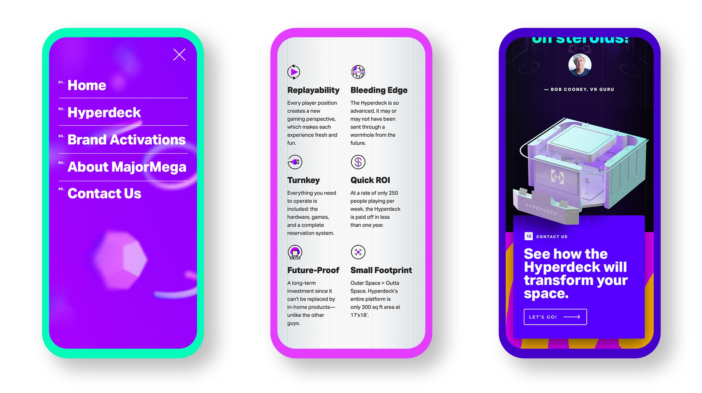 MajorMega website mocked up on 3 mobile devices