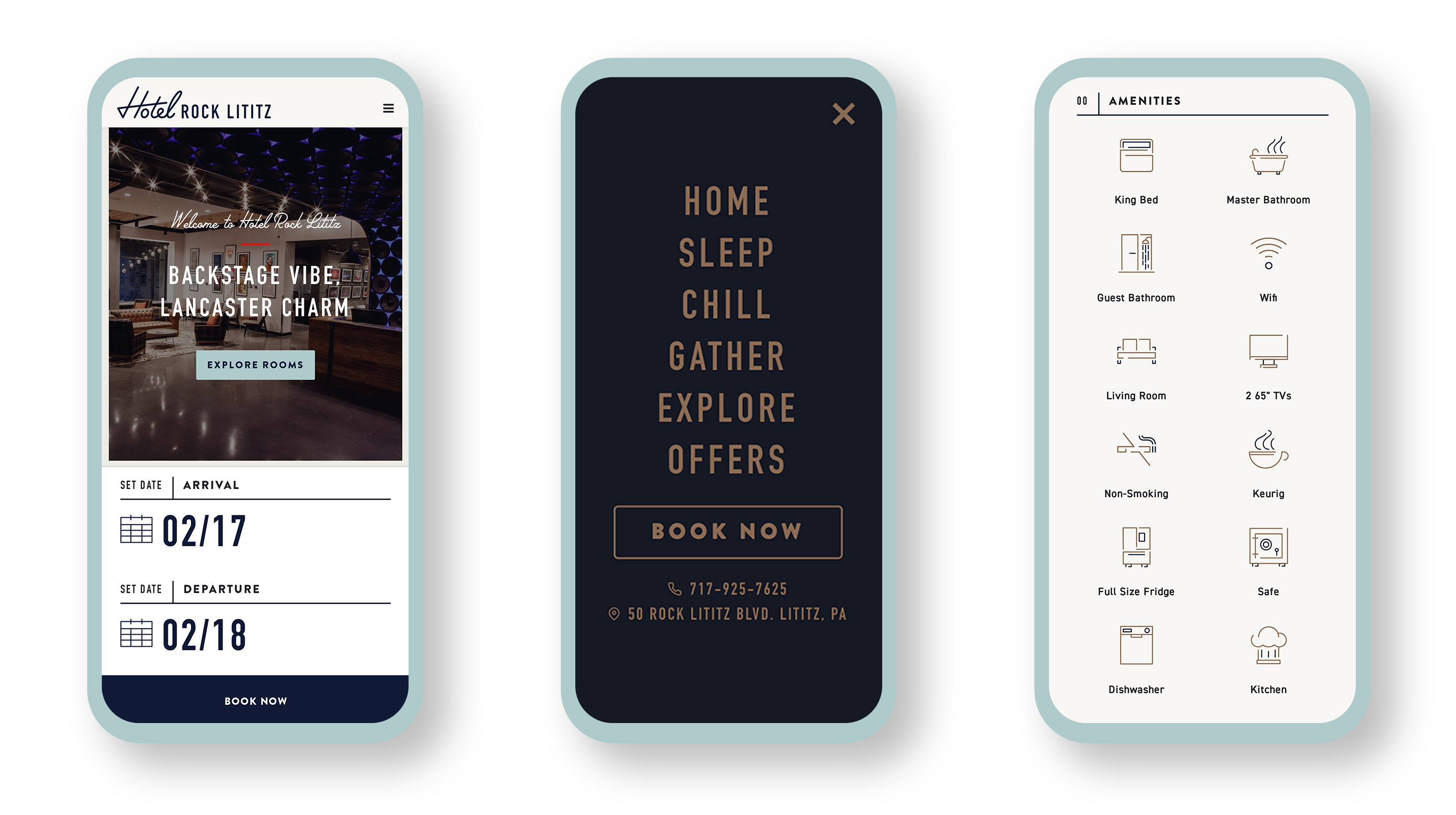 Hotel Rock Lititz website mocked up on 3 mobile devices