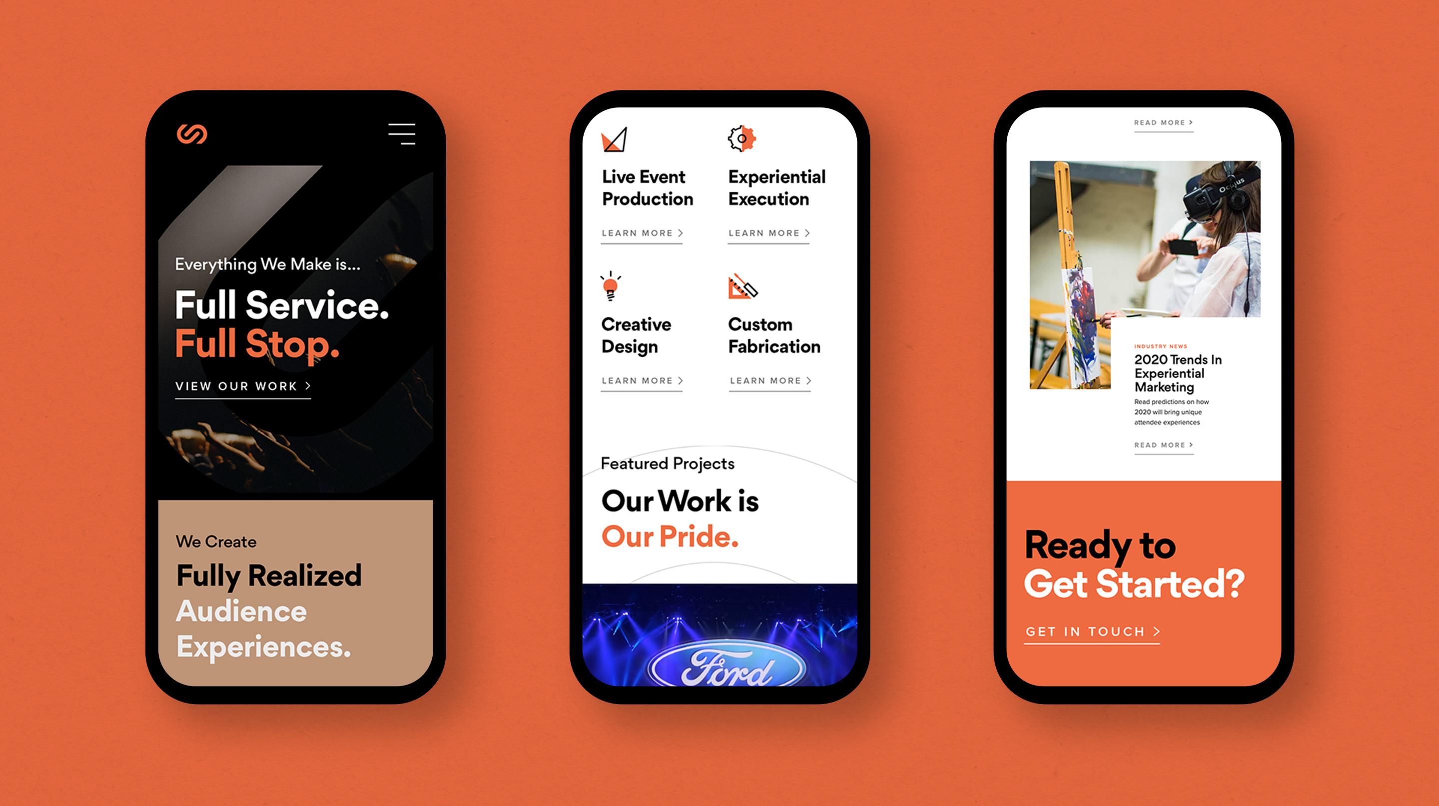 Centerstage website mocked up on 3 mobile devices