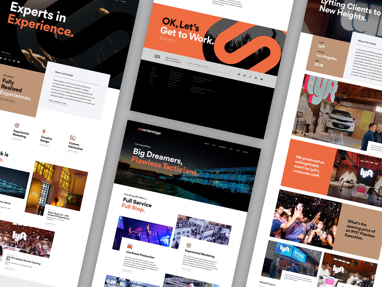 various screenshots of the Centerstage website