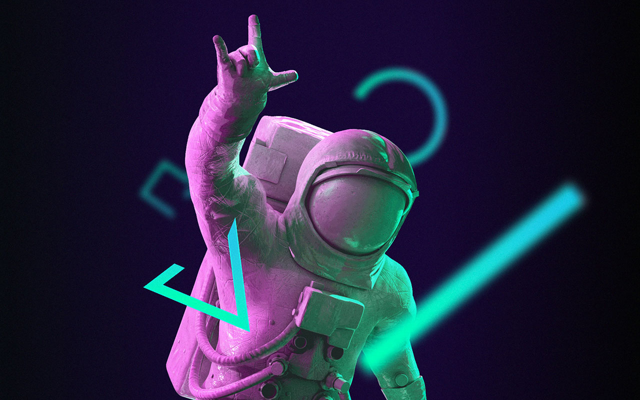 Astronaut making rock horns with hand surrounded by abstract shapes