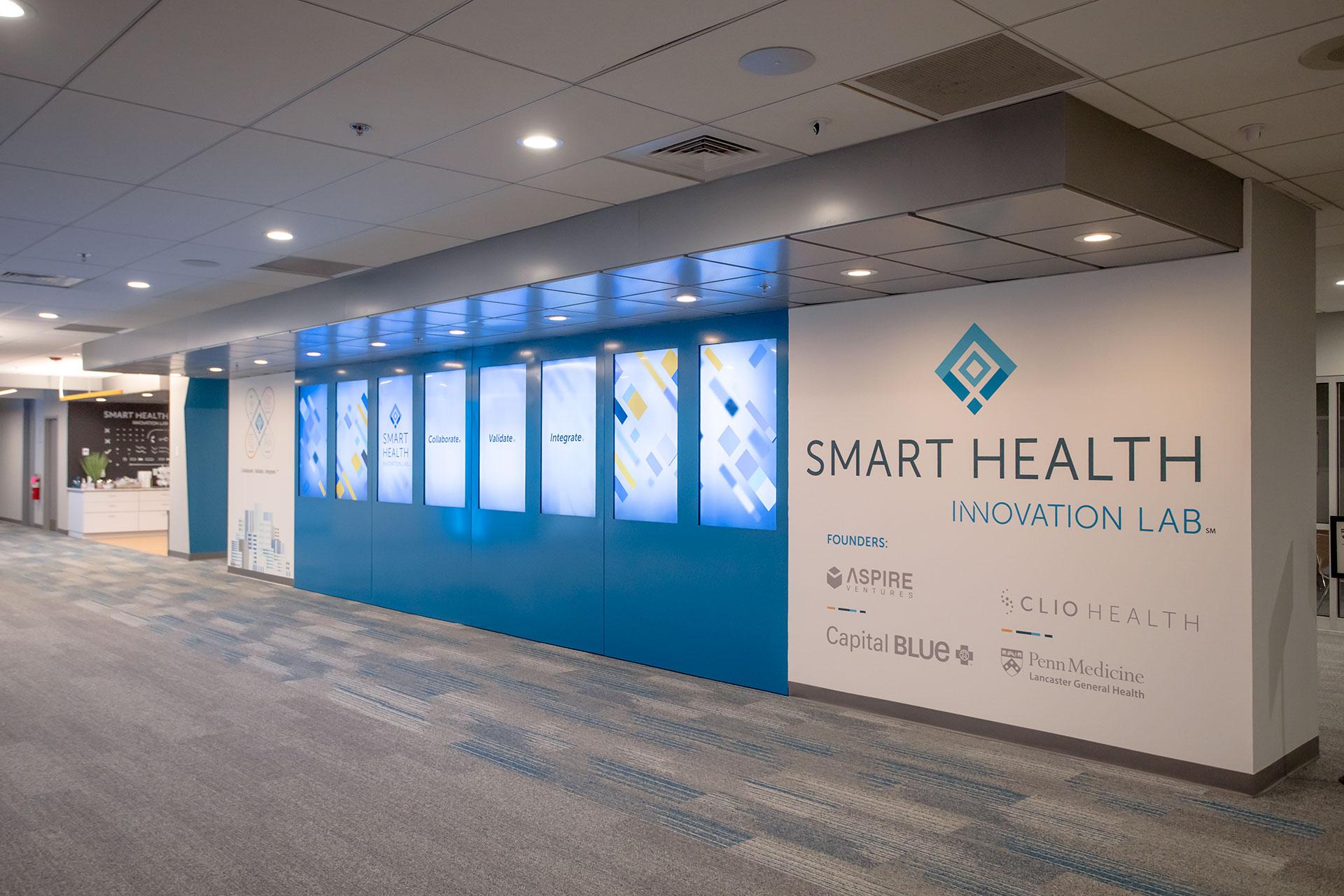 Smart Health Innovation Lab lobby video wall
