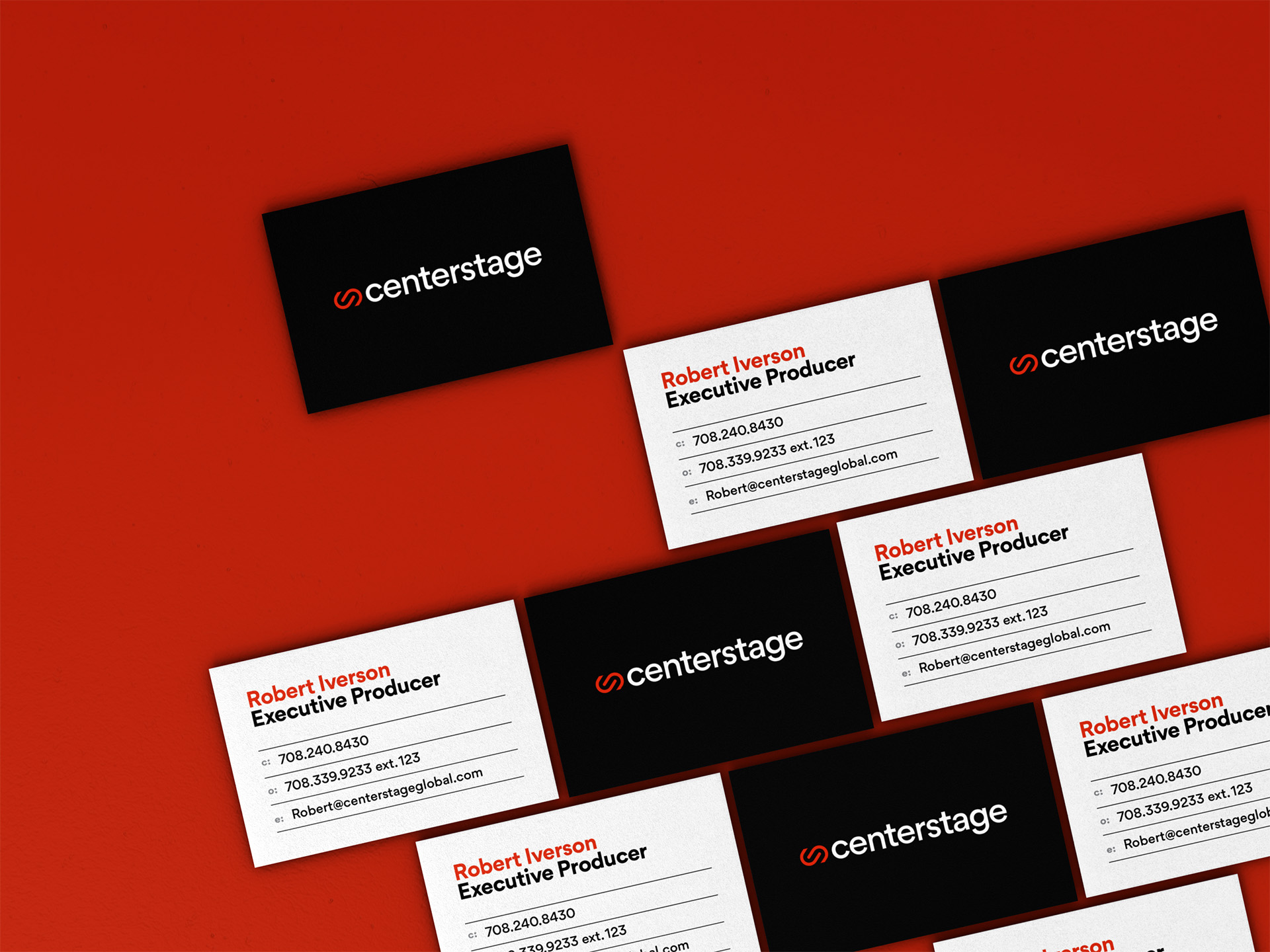 Centerstage business cards from a top angle in a brick-like configuration