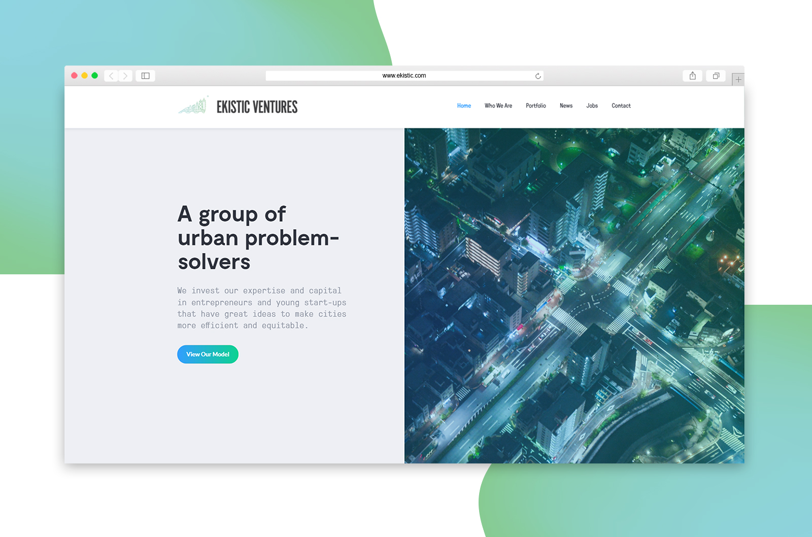 Home page website design and development for venture capital Ekistic Ventures who invests in startups in Chicago