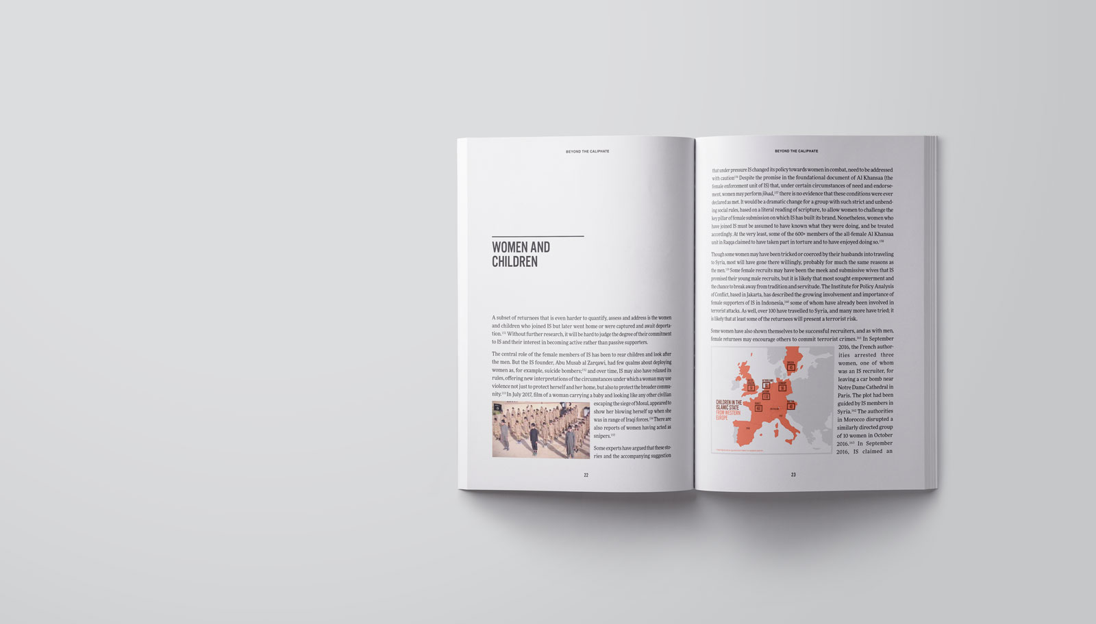 Open pages of publication design for The Soufan Center that shows our infographic design, print design, annual report design, and large table of data designed cleanly