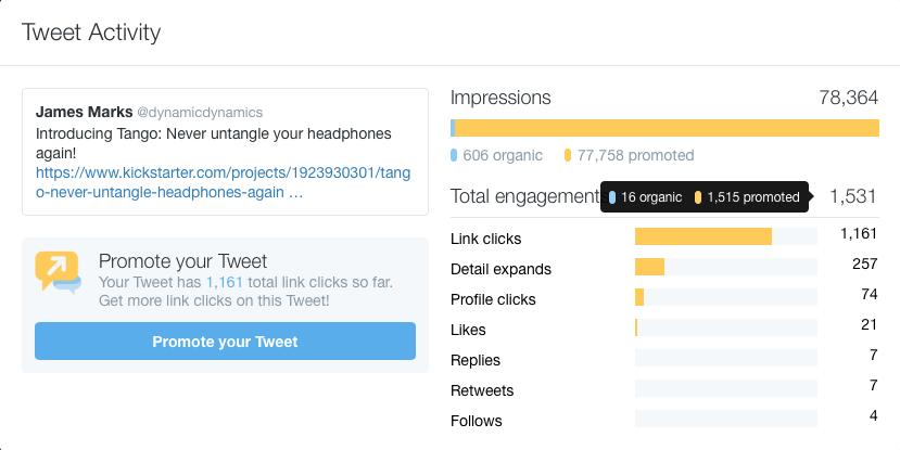 Screenshot of Tango kickstarter tweet data
