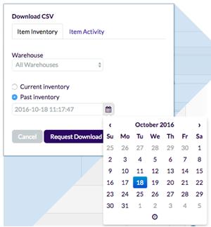 Screenshot of date picker on CSV download