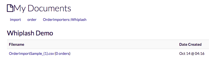Screenshot of saved docs list
