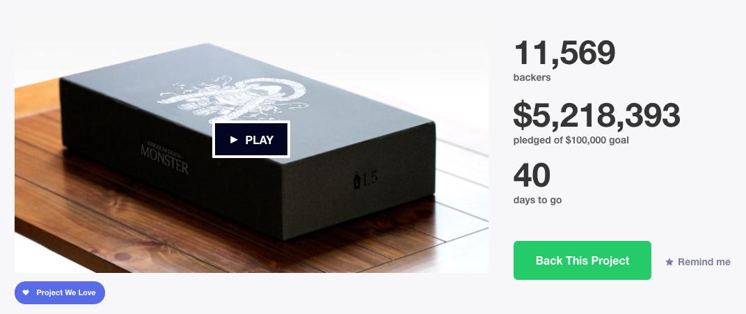 Kingdom death goal status on Kickstarter