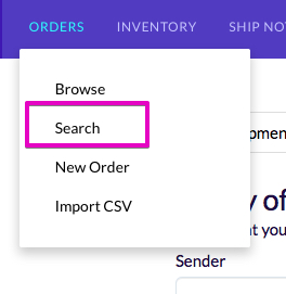 Screenshot of link in navigation for order search