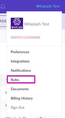 Rules link on Whiplash navigation sidebar
