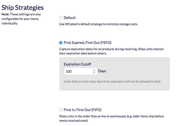 Screenshot of ship strategies settings