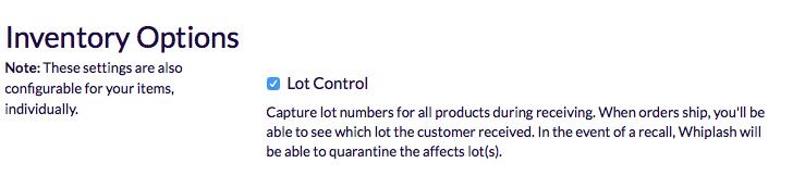 Screenshot of inventory options checkbox