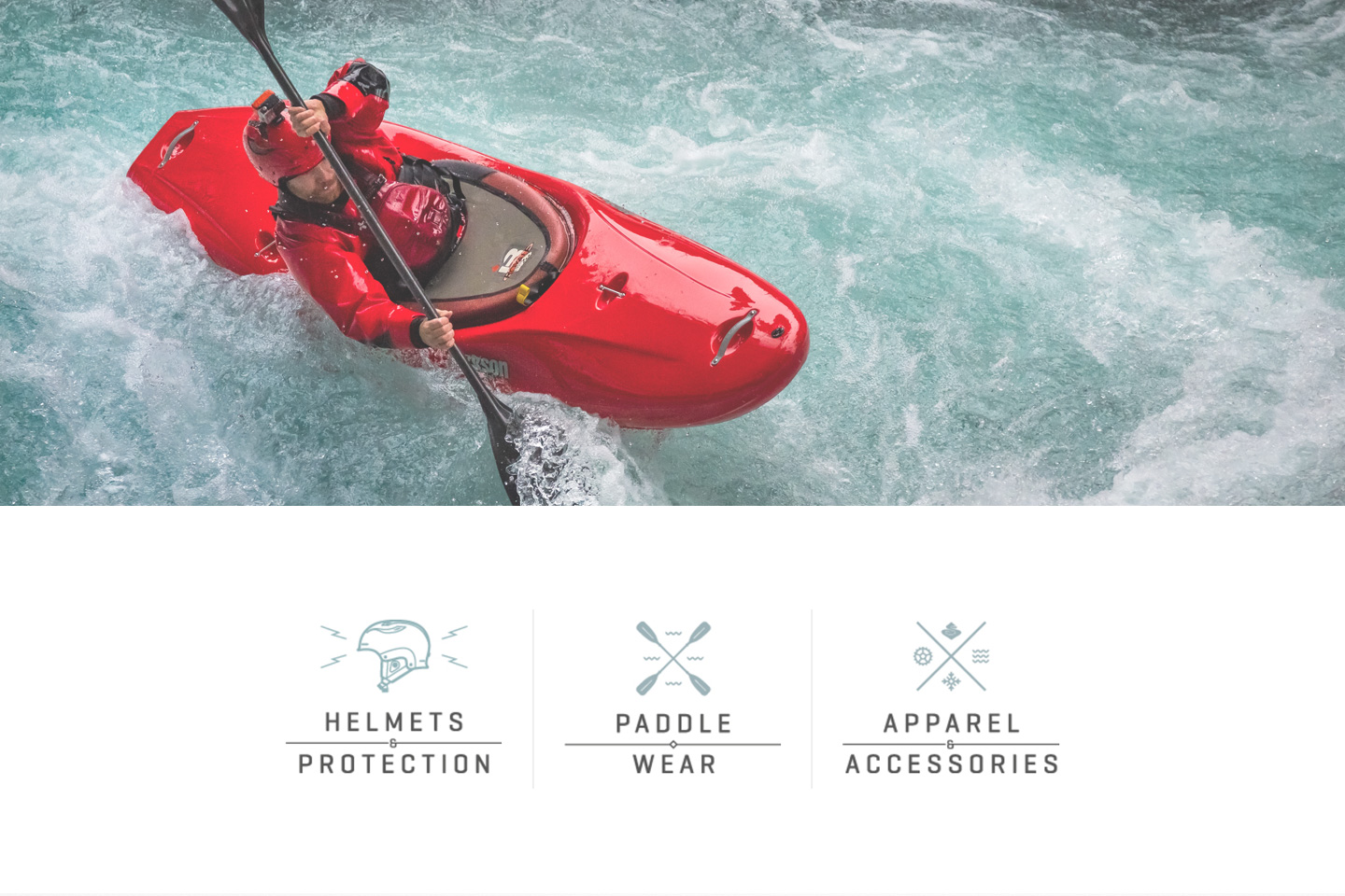 Sweet Protection whitewater kayaking photo and category illustrations