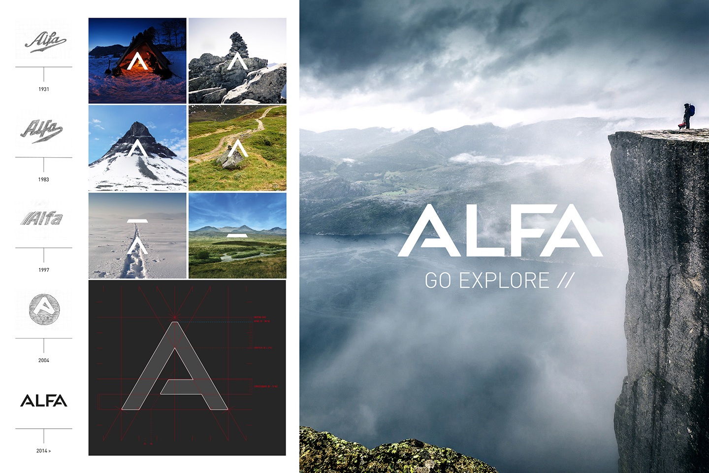 Alfa logo development and nature images