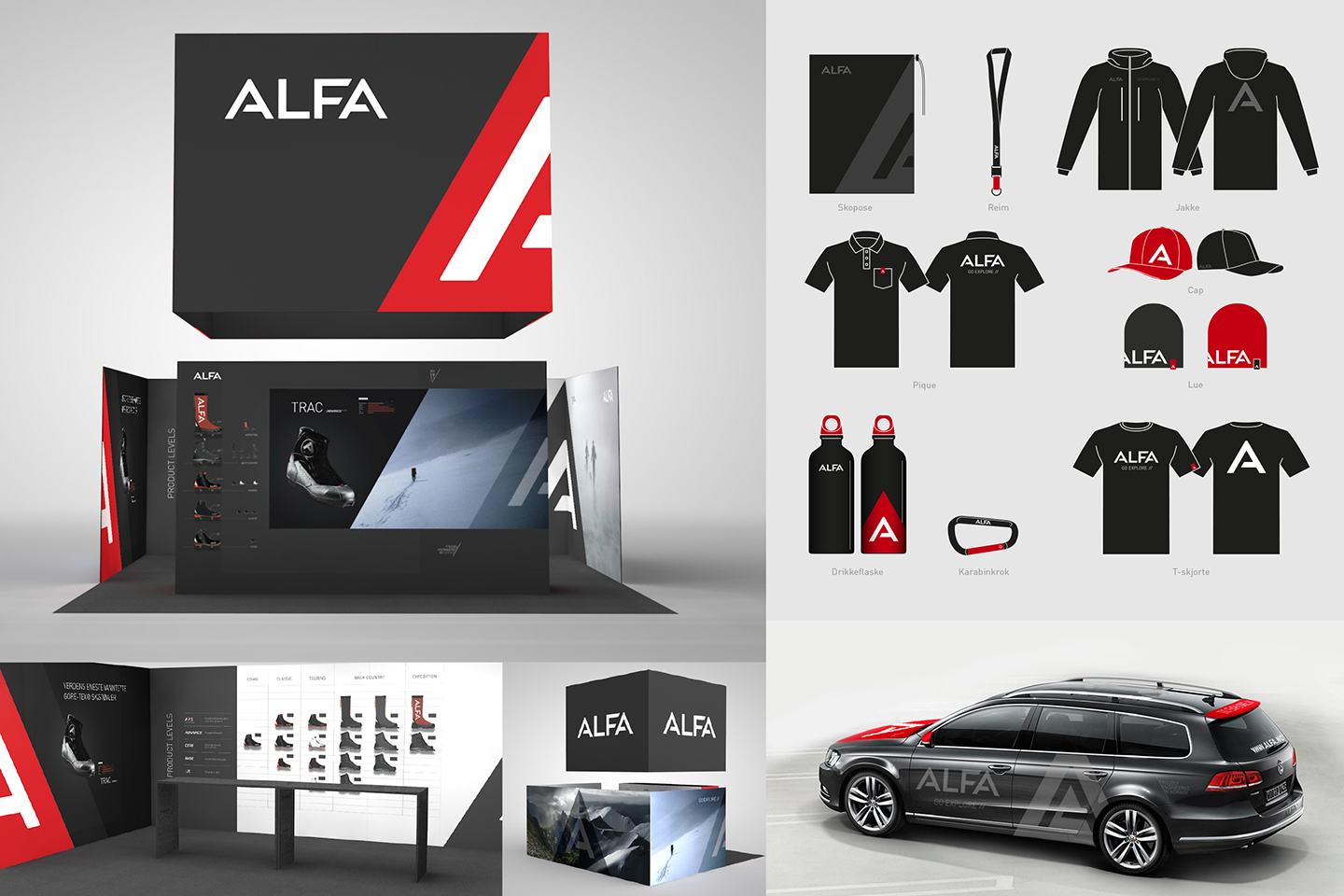 Alfa profile on stand, car and clothes.
