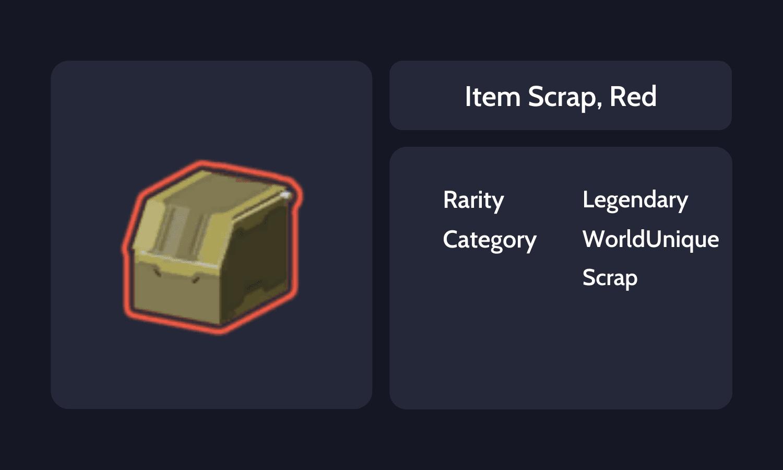 Item Scrap, Red Info Card