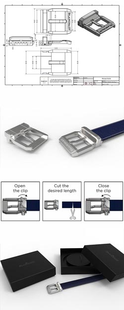 Blancpain Belt Buckle Drawings and mockup