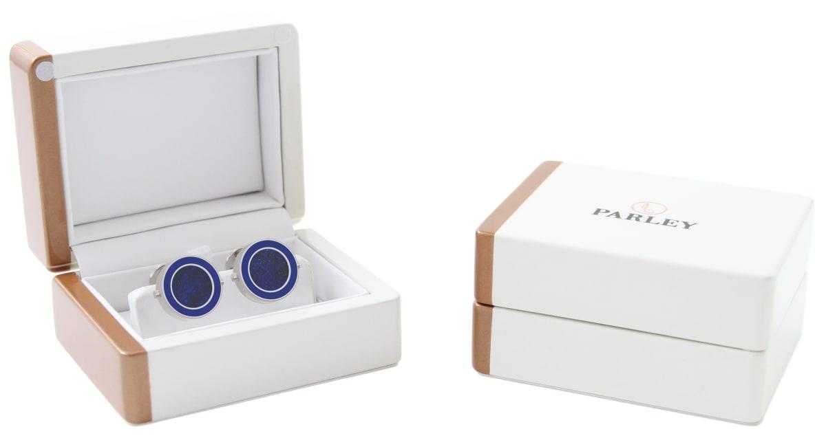 Steel 316L & Epoxy Top Line Bezel Watchlinks with Lapis Lazuli Inlay