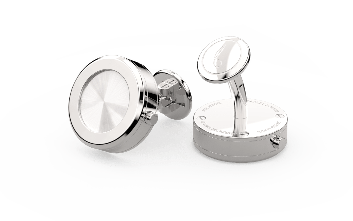 Steel 316L Beveled Edge Bezel Watchlinks with Steel Sunburst Inlay