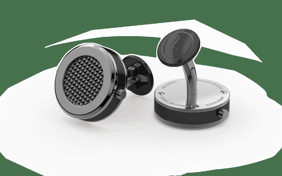 Grey PVD Beveled Edge Bezel Watchlinks with Black PVD Clous de Paris Inlay