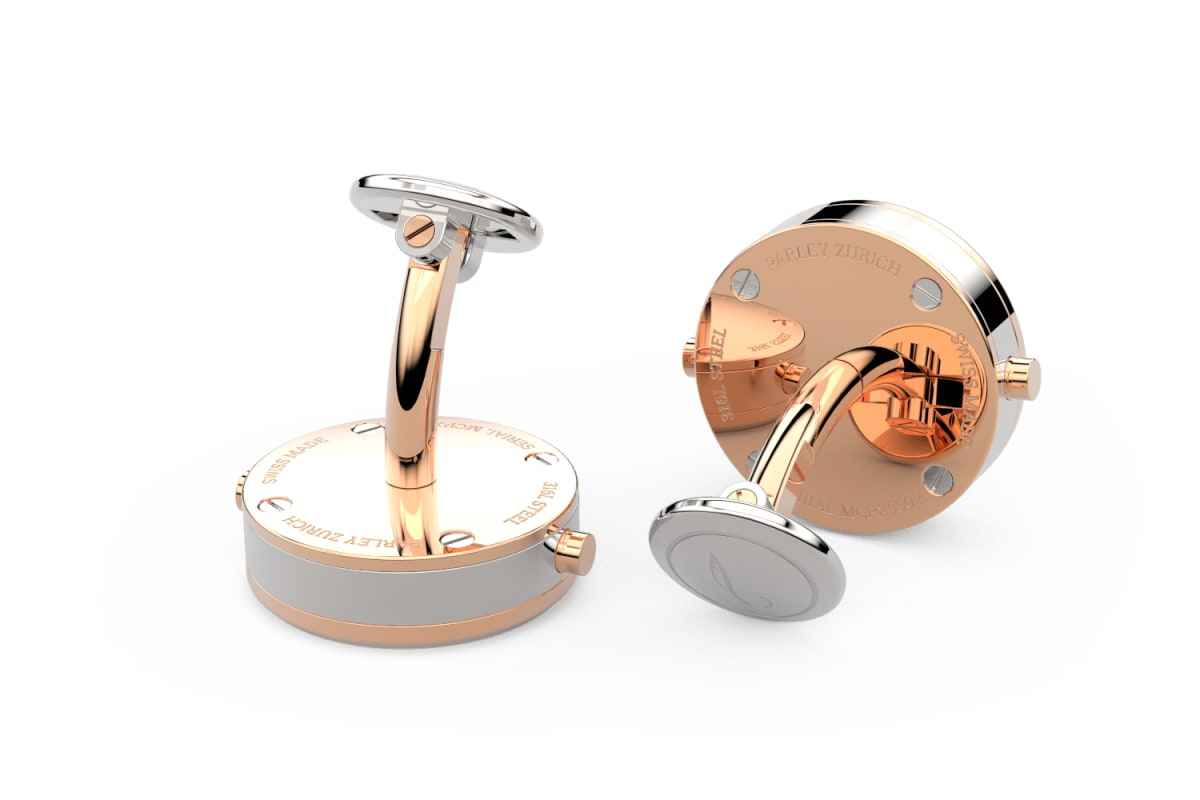 18kt Rose Gold Beveled Edge Bezel Watchlinks with White Mother of Pearl Inlay