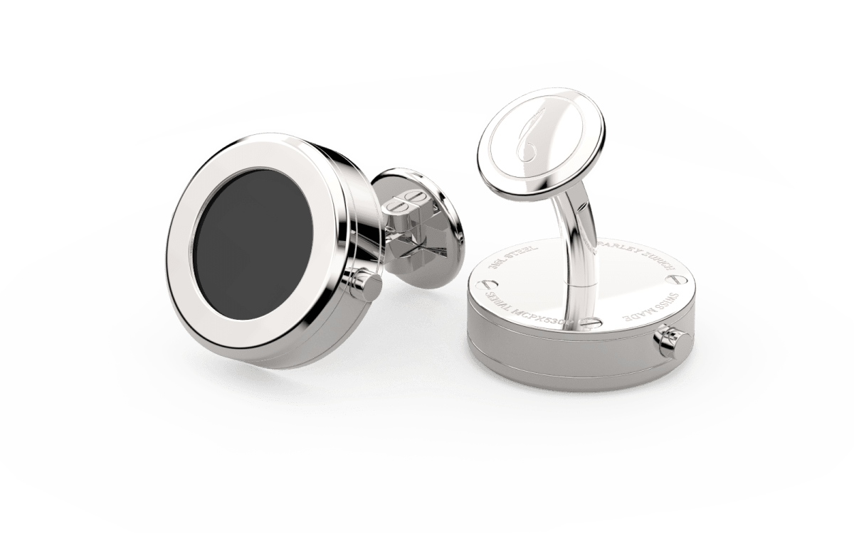 Steel 316L Beveled Edge Bezel Watchlinks with Onyx Stone Inlay