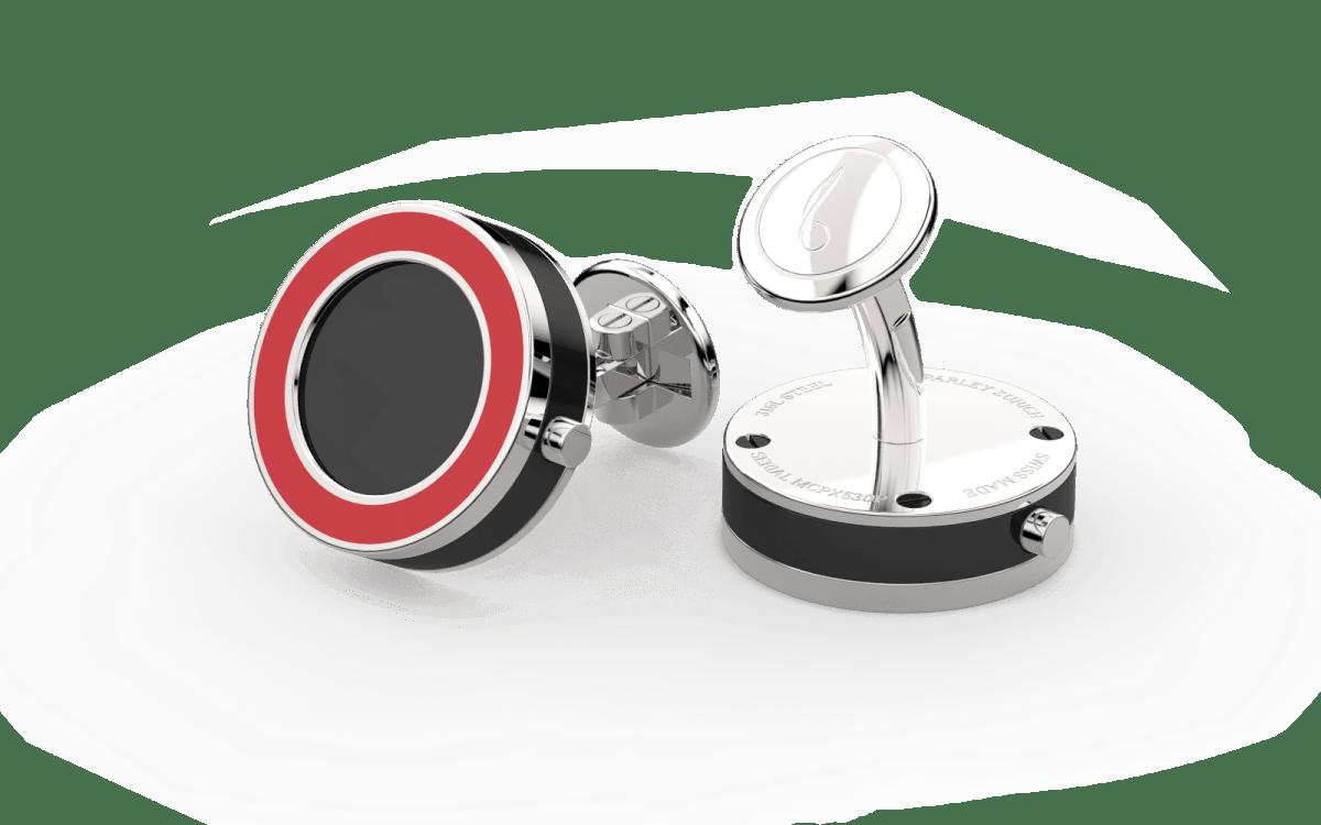 Steel 316L & Red Epoxy Top Line Bezel Watchlinks with Onyx Stone Inlay
