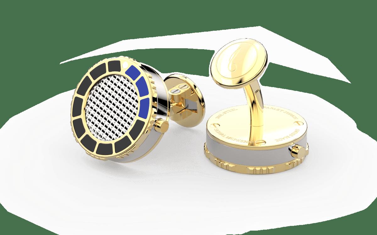 18kt Gold & Black Epoxy Scuba Marine Bezel Watchlinks with Steel Clous de Paris Inlay