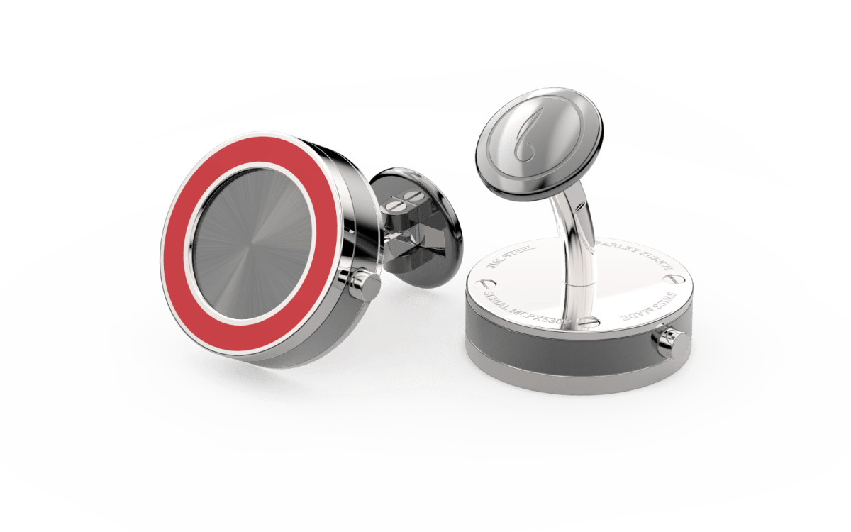 Steel 316L & Red Epoxy Top Line Bezel Watchlinks with Grey PVD Sunburst Inlay