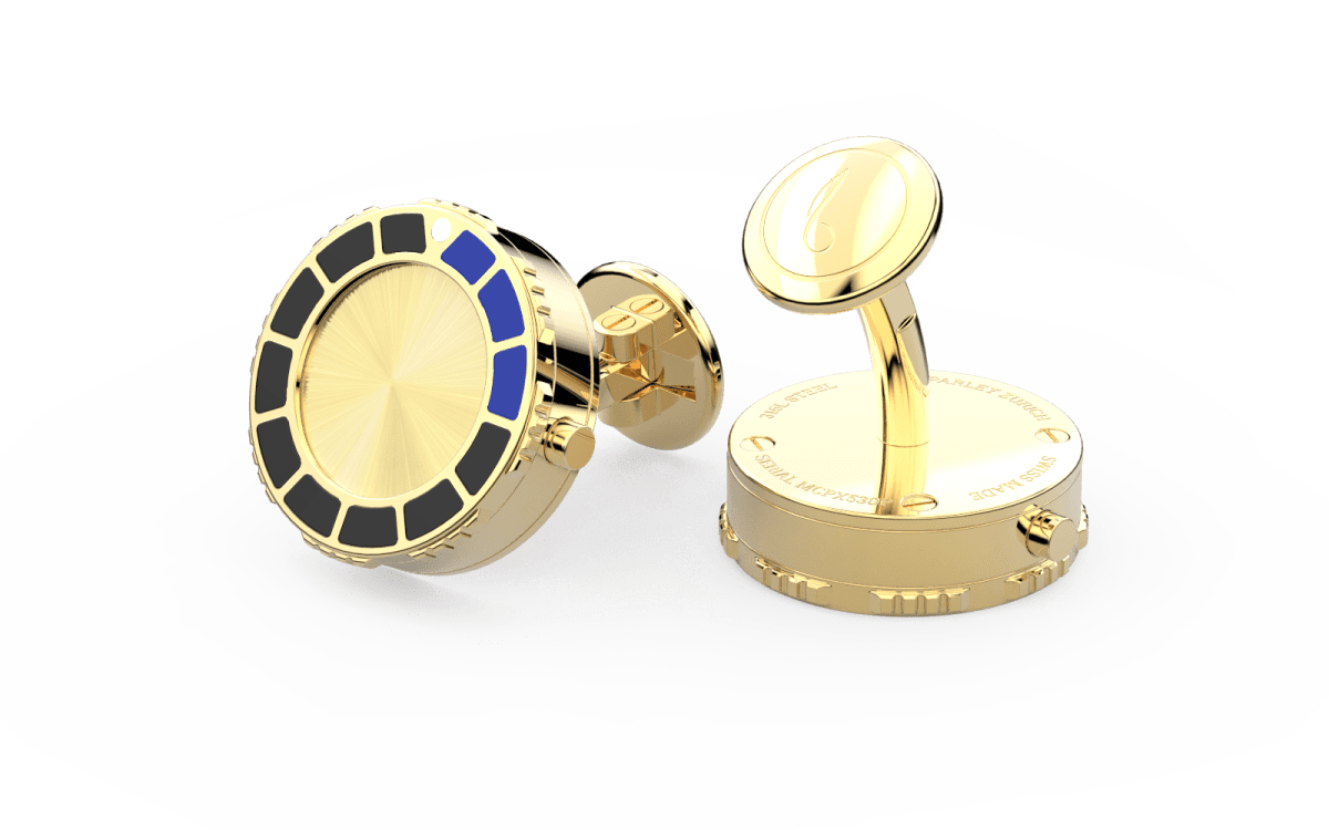 18kt Gold & Black Epoxy Scuba Marine Bezel Watchlinks with 18kt Gold Sunburst Inlay