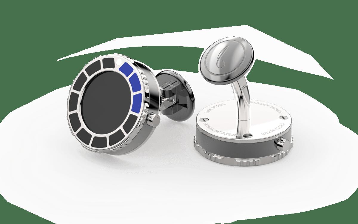 Steel 316L & Blue-Black Epoxy Scuba Marine Bezel Watchlinks with Onyx Stone Inlay