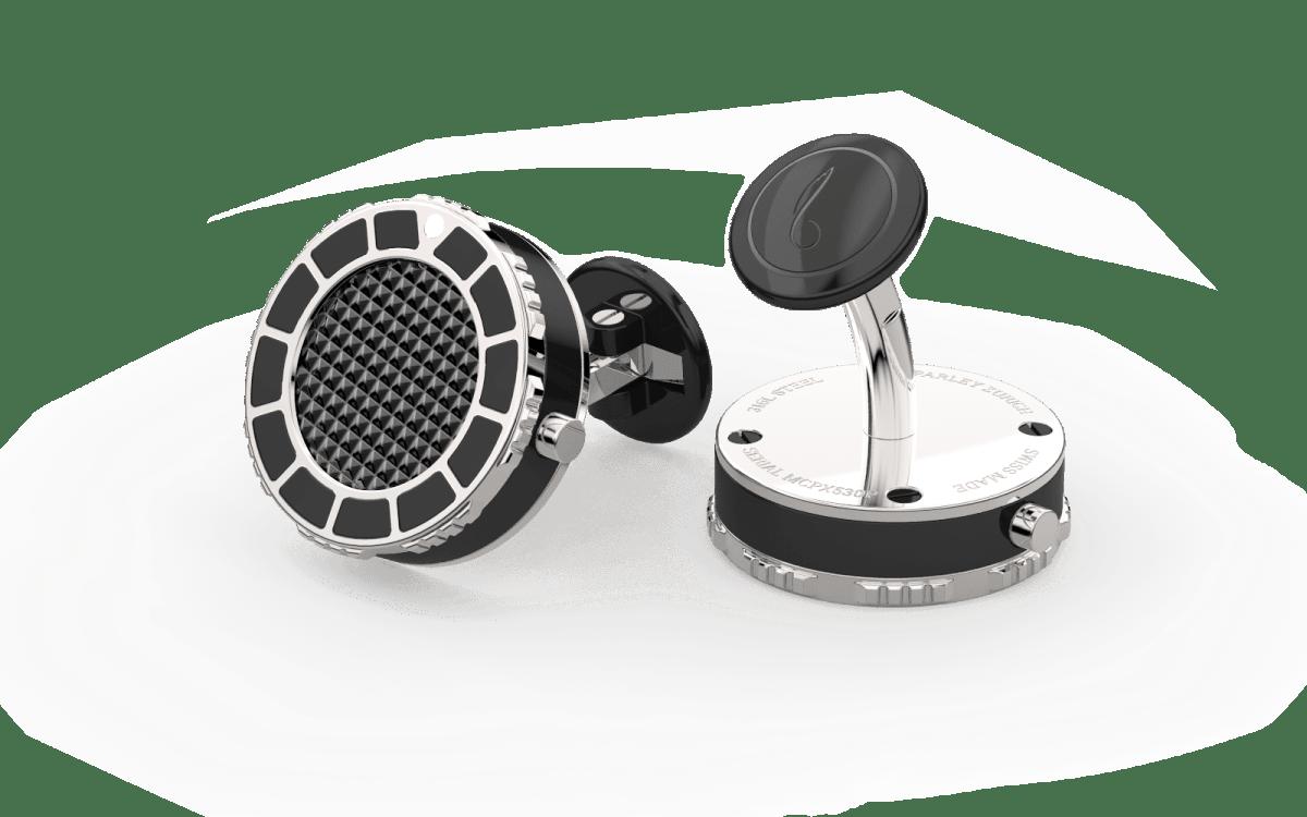 Steel 316L & Black Epoxy Scuba Marine Bezel Watchlinks with Black PVD Clous de Paris Inlay