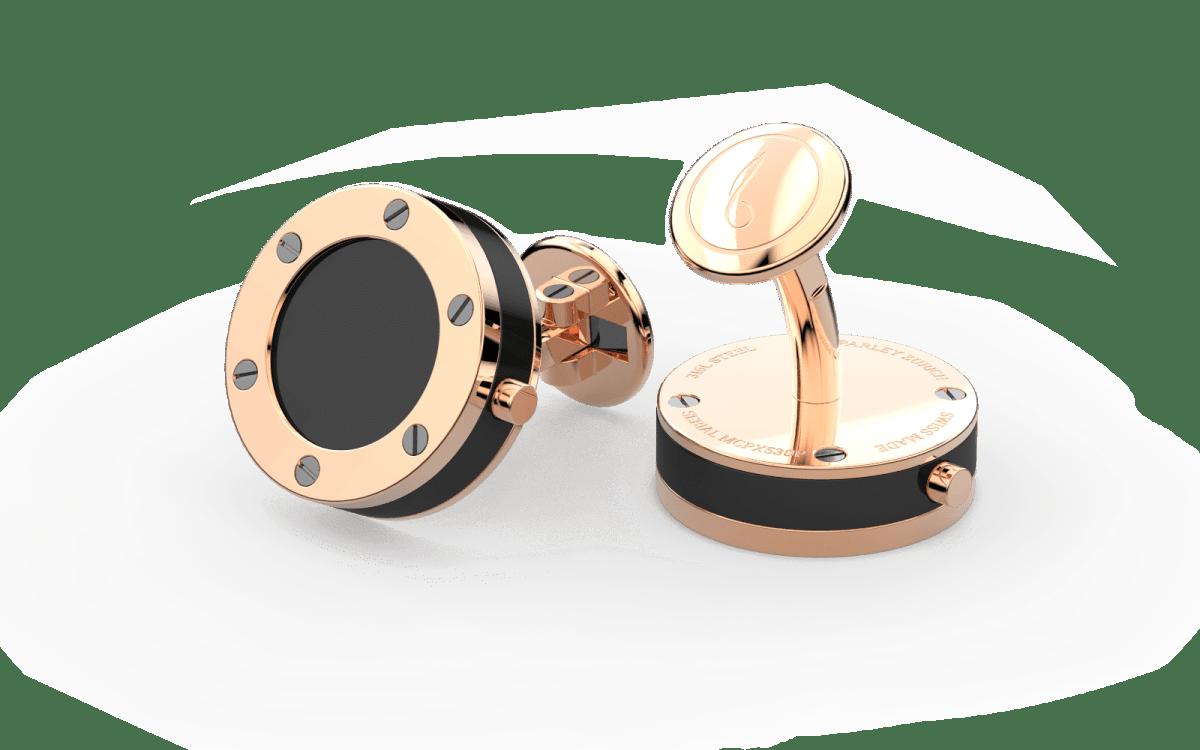 18kt Rose Gold Top Screw Bezel Watchlinks with Onyx Stone Inlay