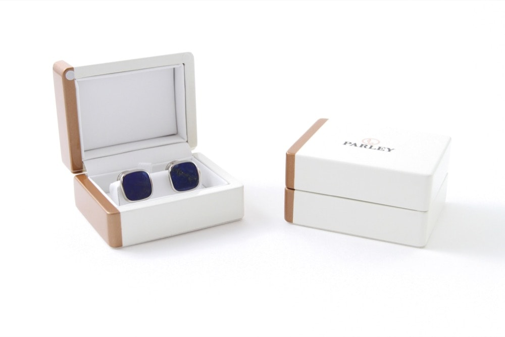 Lapis Lazuli Cufflinks Rounded Square in Gift Box