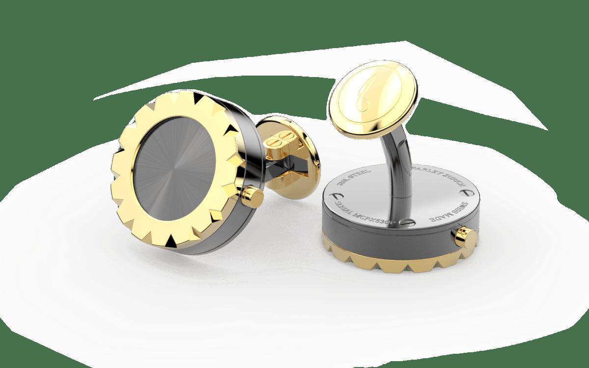 18kt Gold Triangulum Bezel Watchlinks with Grey PVD Sunburst Inlay