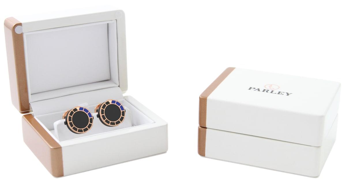 18kt Rose Gold & Blue-Black Epoxy Scuba Marine Bezel Watchlinks with Onyx Stone Inlay