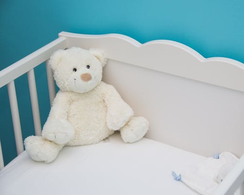Teddy bear in a crib