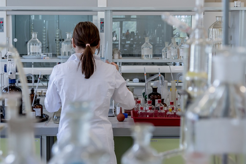 Woman works in lab