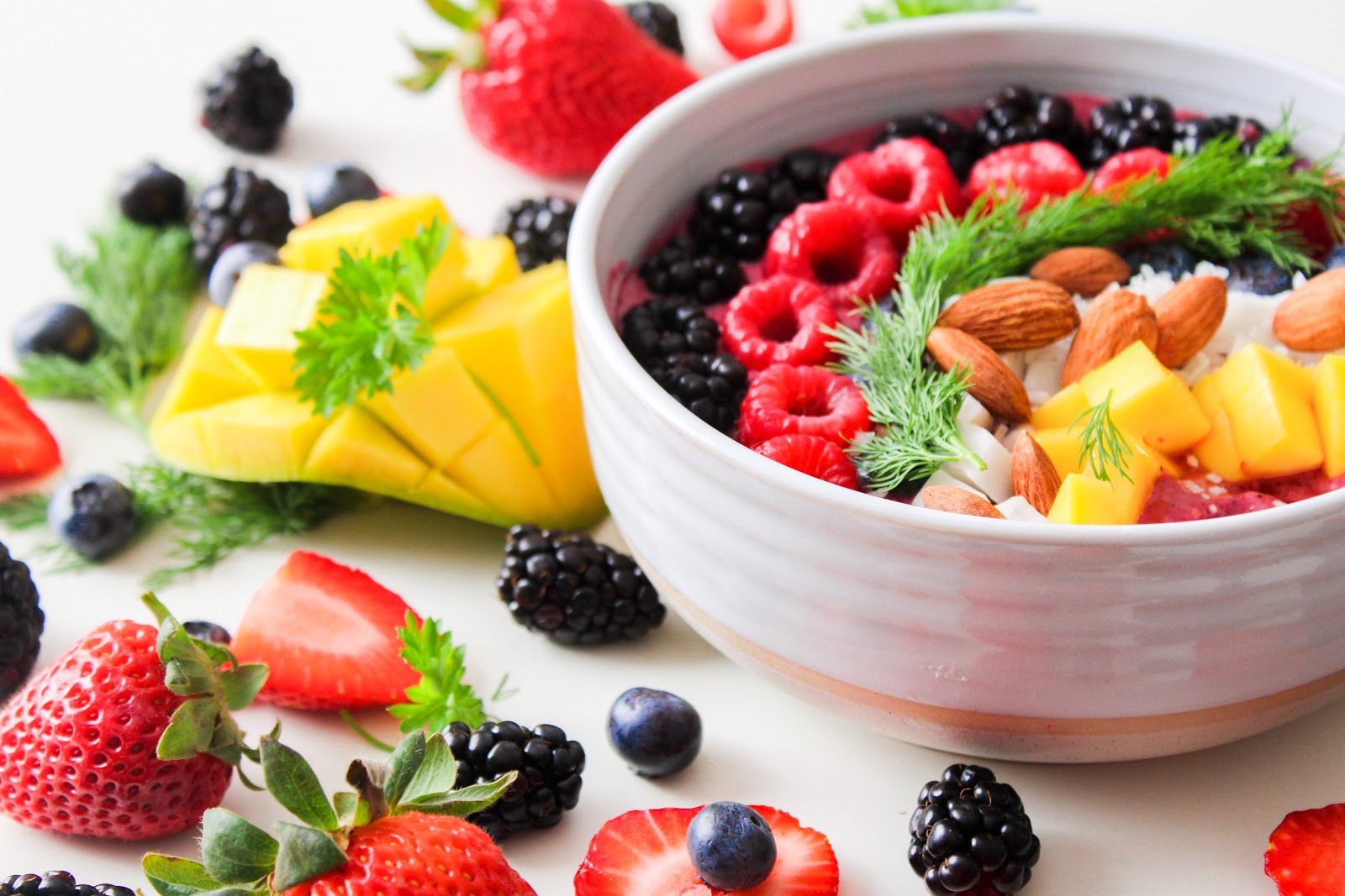 healthy food with fruit