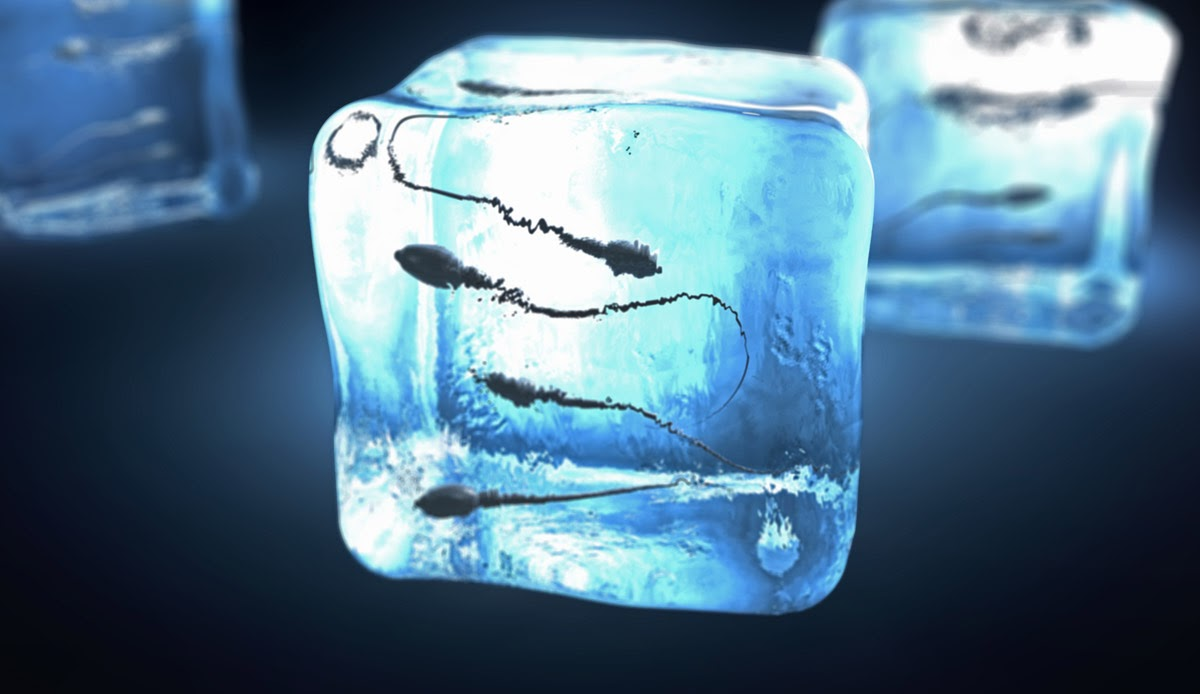 Sperm frozen in a ice cube looking form