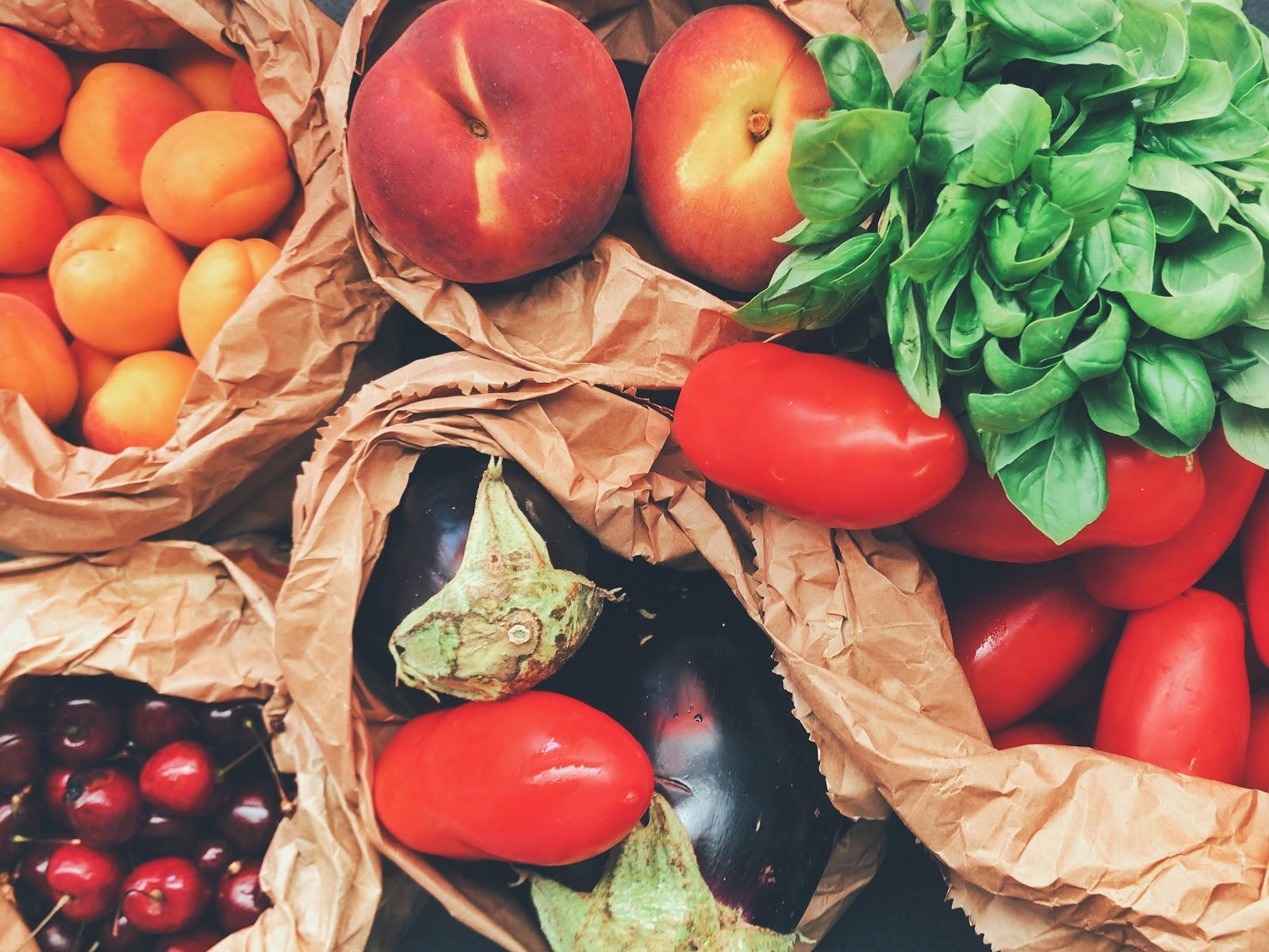 A bundle of healthy fruits and vegetables rich in antioxidants.
