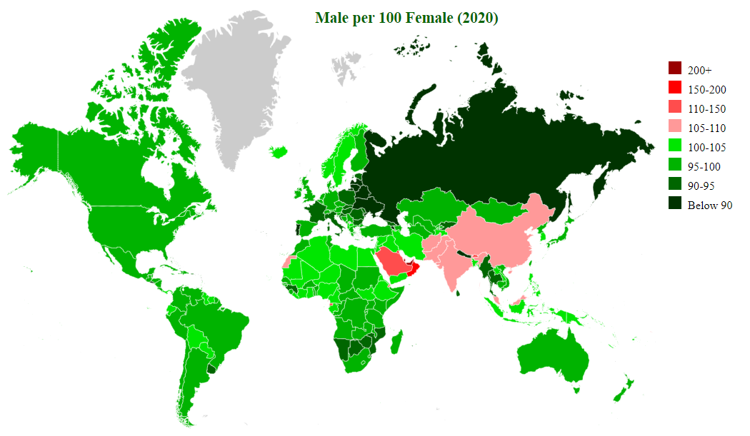 Map showing ratio of females per 100 males for the entire world population